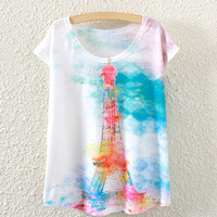 White Short Sleeve Hand-Drawn Eiffel Tower Print T-Shirt