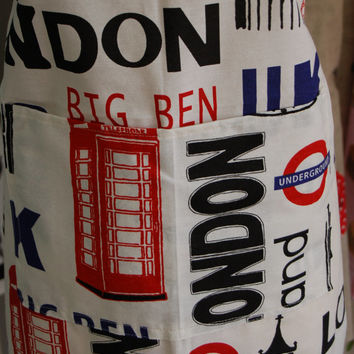 SALE Kitchen Apron London Design, Made in USA