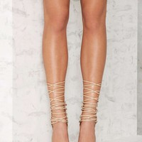 Nasty Gal Strap-Minded Lace-Up Heel - Nude