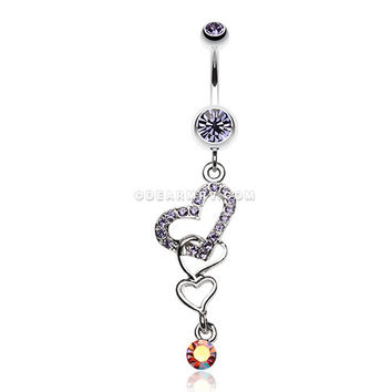 Jeweled Heart with Double Heart Crossover Dangle Belly Ring (Tanzanite)