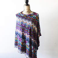 Tribal Chevron Poncho/ Boho Poncho/ Nursing Poncho/ Nursing Shawl/ Breastfeeding cover/ Summer Poncho/ New Mom Gift