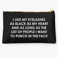 Like My Eyelashes As Black As My Heart Quote Makeup Bag