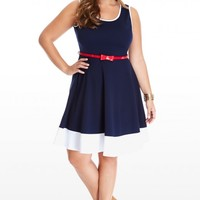 Plus Size Bridgeport Belted Flare Dress | Fashion To Figure