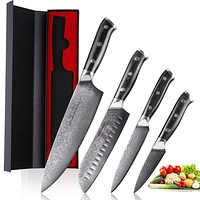 Mokithand 4pcs Japanese Kitchen Knife Sets Damascus Steel Chef knives 67 Layer Sharp VG10