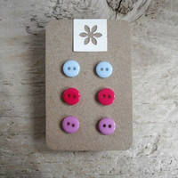 Button Earrings - Tiny Studs - 3 Pairs - Blue, Cerise Pink, Purple - Nickel Free - UK Jewellery