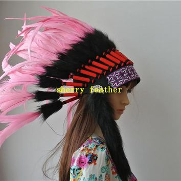 light pink Indian style feather headdress halloween costume chief indain style war bonnet party supply