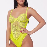 Obsession Eyelash Lace Mesh Bodysuit Neon
