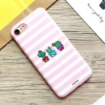 Best Protection Pink Cactus iPhone 7 7 Plus & iPhone 6 6s Plus & iPhone 5s se Case Personal Tailor Cover + Gift Box