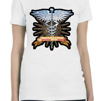 Caduceus Medical Symbol Nurse Scrubs Custom T Shirt In All Sizes  in Mens,Ladies and Junior Styles...Free Shipping!!