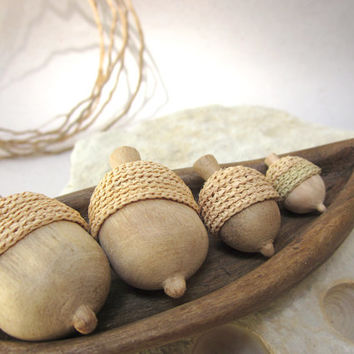 Hand sculpted acorns with a unique wood leaf bowl, Made to order, natural, home decor, wood sculpture, wood carving