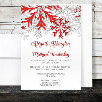 Winter Reception Only Invitations - Red Silver Snowflake design on White - Post-Wedding Reception - Printed Invitations