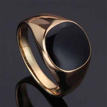 anillos SIZE 7-12 2017 New Vintage  plated Fashion classic gold men rings black enamel painting jewelry fashion Anel sa779