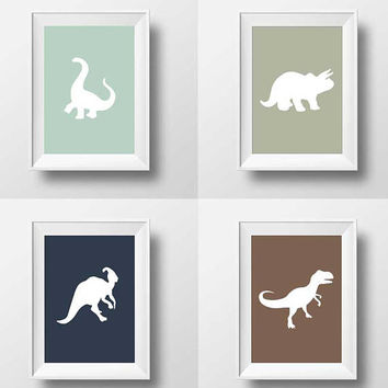Dinosaur Modern Stylish print, Nursery Art, Kids Room Decor, Poster, Digital, Instant Download, Typography, Minimalist, Rustic, Blue, Number