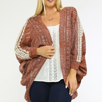 Plus Size Cardigan With Lace Trim