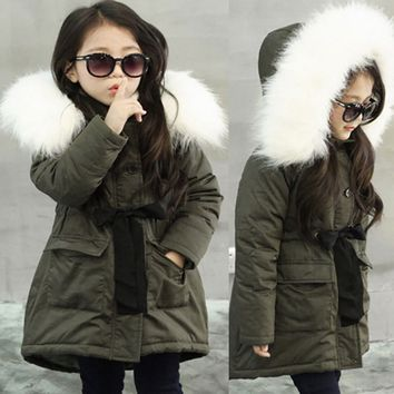 Kid Baby Girl Fur Hooded Jacket Padded Coat Winter Long Thick Warm Jacket Parkas