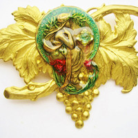 Art Nouveau Large Grapevine Lady Brooch Antiqued Gold Tone Embossed Victorian Revival Jewelry