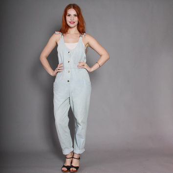 80s DENIM OVERALLS / 1980s LEE Jeans Stone Wash Tapered Jumpsuit