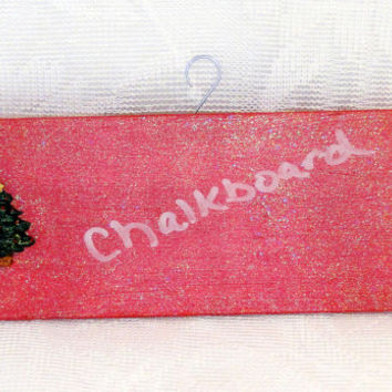 In Stock Chalkboard Wood Sign Christmas Tree Hand-Painted Red With Fine Glitter Holiday Decoration Ornament Countdown Sign