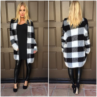 No Grey Area Plaid Oversize Fur Cardigan