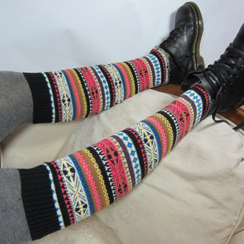 Pink  Fair Isle Boot  Socks  Knee High Socks Leg Warmers Cotton  Knit  B840
