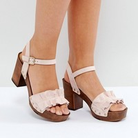Faith Dani Ruffle Heeled Sandals at asos.com