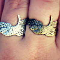 bird friendship rings, feather rings, wing ring,  ring set, birthday gift, chrsitmas gift, friendship gift