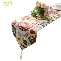 ROMORUS 2017 Fashion Bohemian Style Table Runner Cotton Linen Decorative Table Cloth with Tassels Bed Table Runners 30*200cm