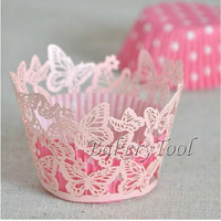 60pcs/lot Pink Butterfly Pearl Paper Laser Cut cupcake wrapper Cake muffin decorations for Wedding