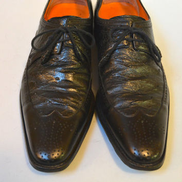 Vintage Men's Mezlan Pointy Toe Ostrich Leather Lace-up Shoes - Black Wingtips Mezlan Size 9 M Leather Soles