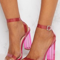 Hot Pink Coloured Clear Strappy Heel