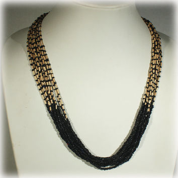 Black Beige Necklace, Toasted Almond, Black Bead Necklace, Multi Strand Necklace, Bamboo Necklace