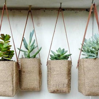 Upcycled GrEEN AbBY plant baskets WITH leather strap. Coffee burlap.