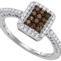 Cognac Diamond Fashion Ring in 10k Gold 0.45 ctw