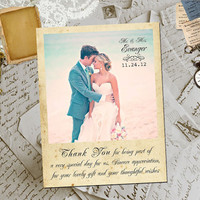 "50 Wedding Thank You Magnets - KeyWest Vintage Photo Personalized 4.25""x5.5"""