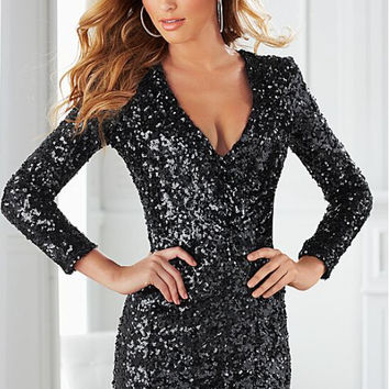 Black  V-Neck Long Sleeves Shimmering Mini Dress