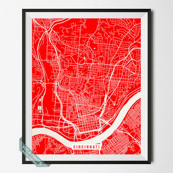 Cincinnati Print, Ohio Poster, Cincinnati Poster, Ohio Street Map, Hamilton County, Wall Art, Office Decor, Home Decor, Back To School
