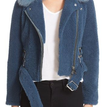 Burberry 'Barrsthorpe' Genuine Shearling Moto Jacket with Genuine Fox Fur Collar | Nordstrom
