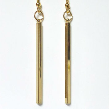 14kt Gold filled Vertical Bar Earrings, Sleek, Minimalist Gold Bar Earrings, Modern, Dainty, Gift for Her