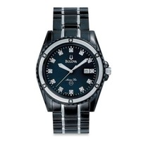 Bulova Marine Star Collection Men's 42mm Diamond-Accented Watch in Black Stainless Steel