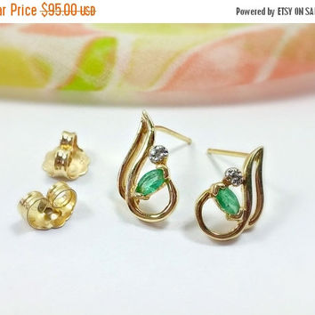 Vintage 14k Gold Emerald Earrings Diamond Accent May Birthday May Birthstone Stud Post Style with Butterfly Backings Dainty Lovely Pierced