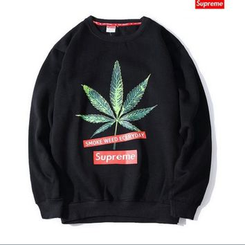 Tide brand Supreme Couple cotton plus cashmere round collar sweater camouflage men and women fall and winter pullovers Green hemp leaves