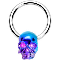 Violet Blue Wicked Skull Dangle Captive Ring | Body Candy Body Jewelry