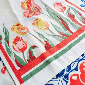 Tulip Tea Towel Vintage Linens Dish Towel Kitchen Towel Pink and Yellow