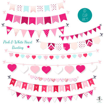 Bunting banner clipart set penant banner garland bunting clipart valentine clipart banner bunting clip art commercial use valentines banner