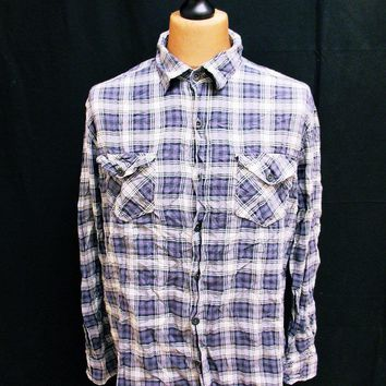 Retro CONVERSE Star Checked Hipster Lumberjack Plaid Flannel Shirt Large