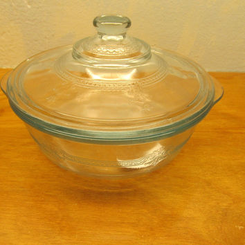 VINTAGE SAPPHIRE BLUE FIRE KING BAKING AND SERVING BOWL