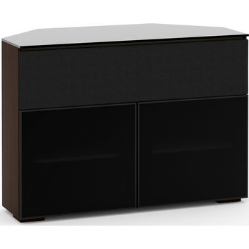 Oslo 44 Inch Extra Tall Corner TV Stand Cabinet Center Speaker Opening Wenge Black Glass