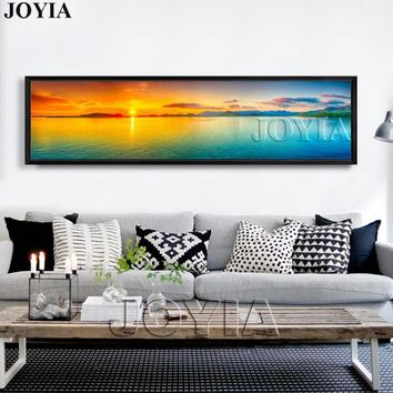 Nature Canvas Wall Art Landscape Painting Large Sunset Sea Panorama Seascape Decor Picture Panel Boards For Home Room (No Frame)