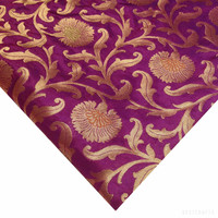 Purple and Gold Banaras Silk Fabric