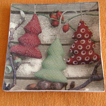 Christmas plate - Decorative plate - Glass plate -  Decoupage plate- Christmas trees